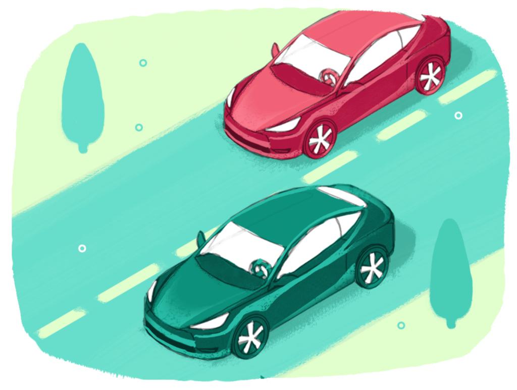 two autonomous cars