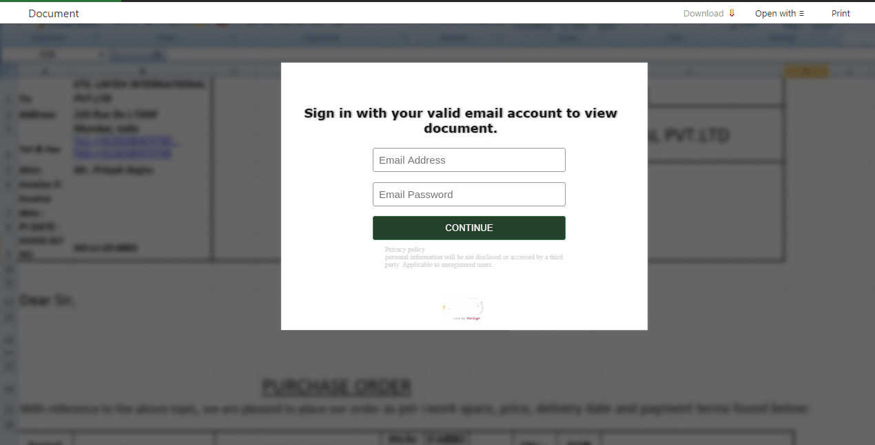Example of a phishing website prompting the visitor to sign in to view a document