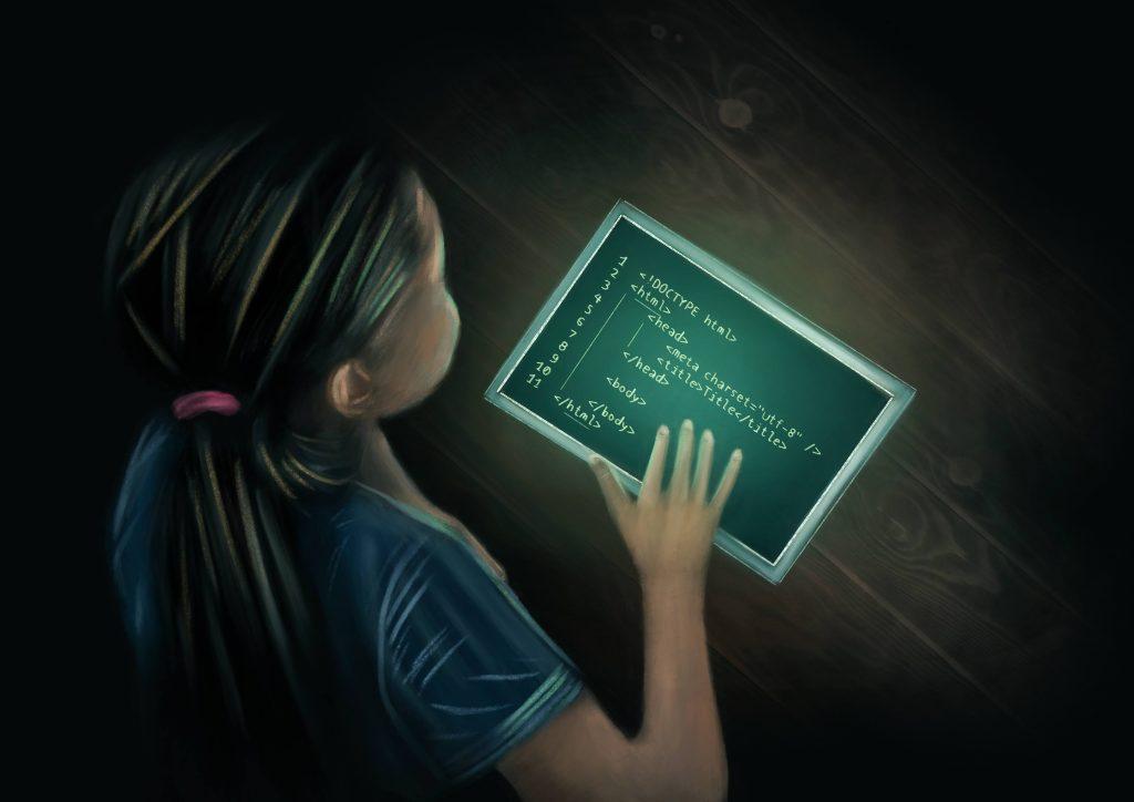 Earth-2050: Girl Coding
