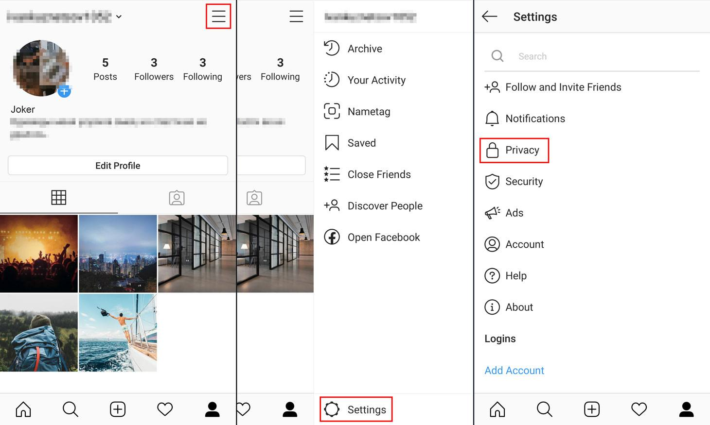 Where to find privacy settings in the Instagram app