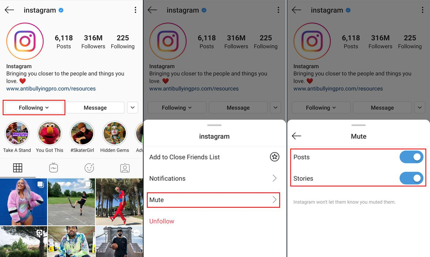 How to mute users in Instagram
