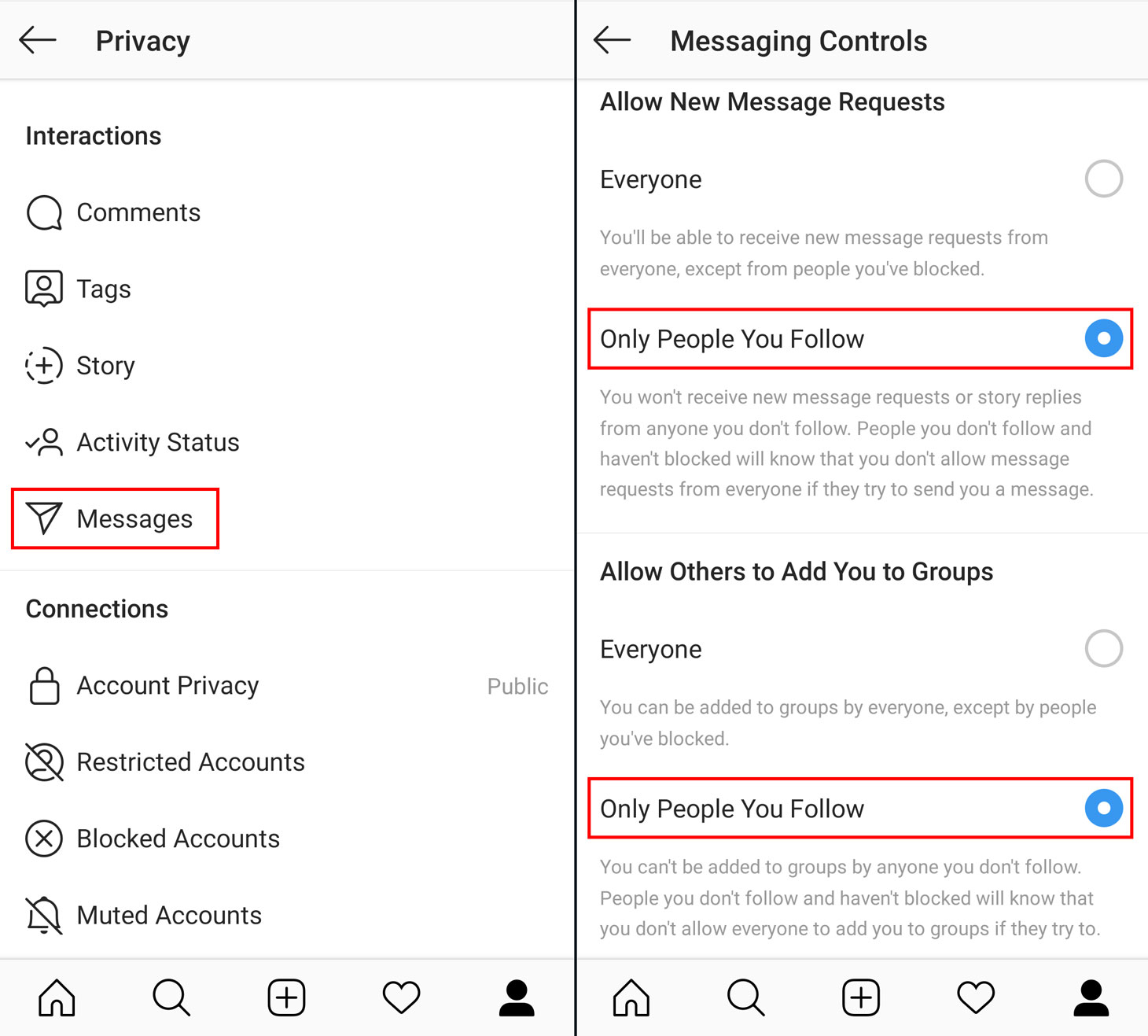 Hot to block spam in Instagram's direct messages and keep from being added to random groups