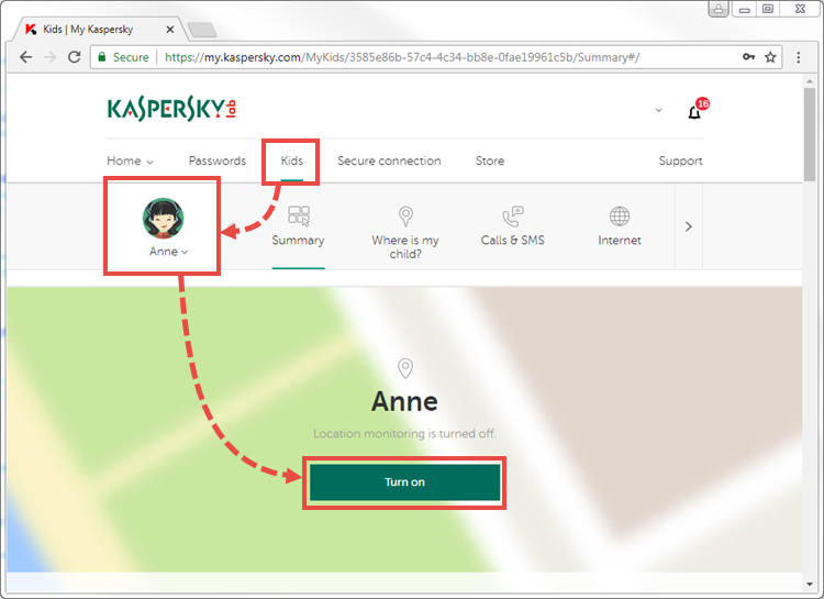 Activating location monitoring in Kaspersky Safe Kids using My Kaspersky