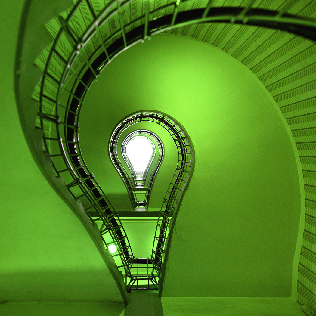 Going green in IT bulb stairs