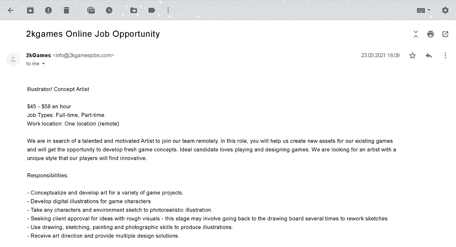 Fake e-mail about a work-from-home job
