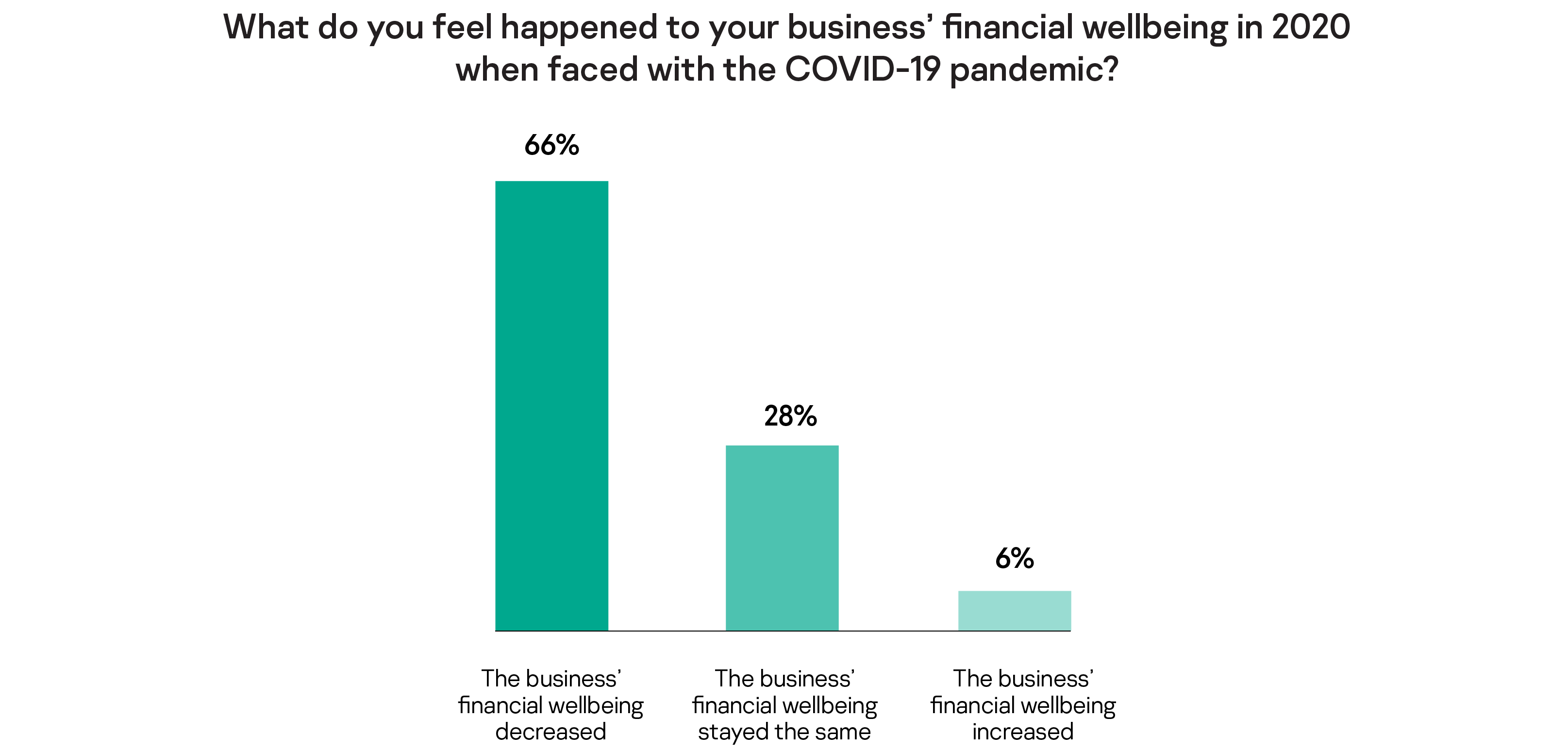 What do you feel happened to your business' financial wellbeing in 2020 when faced with the COVID-19 pandemic?