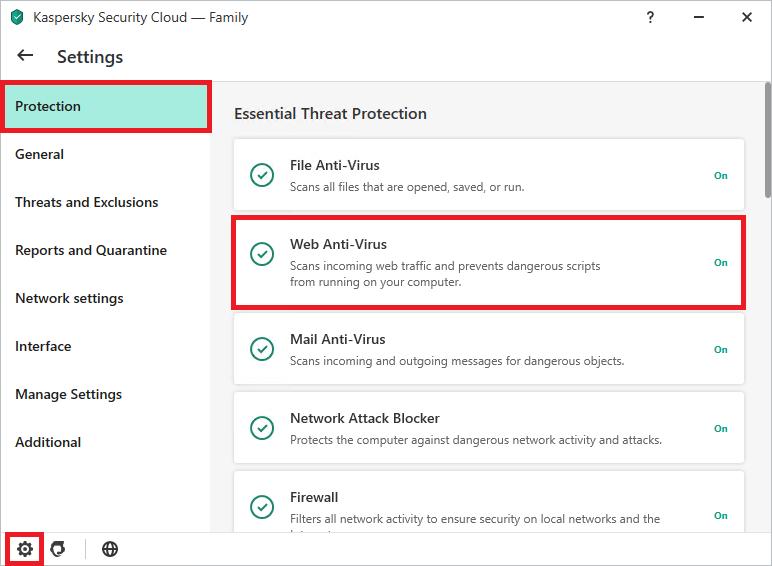 Configuring Kaspersky Internet Security or Kaspersky Security Cloud