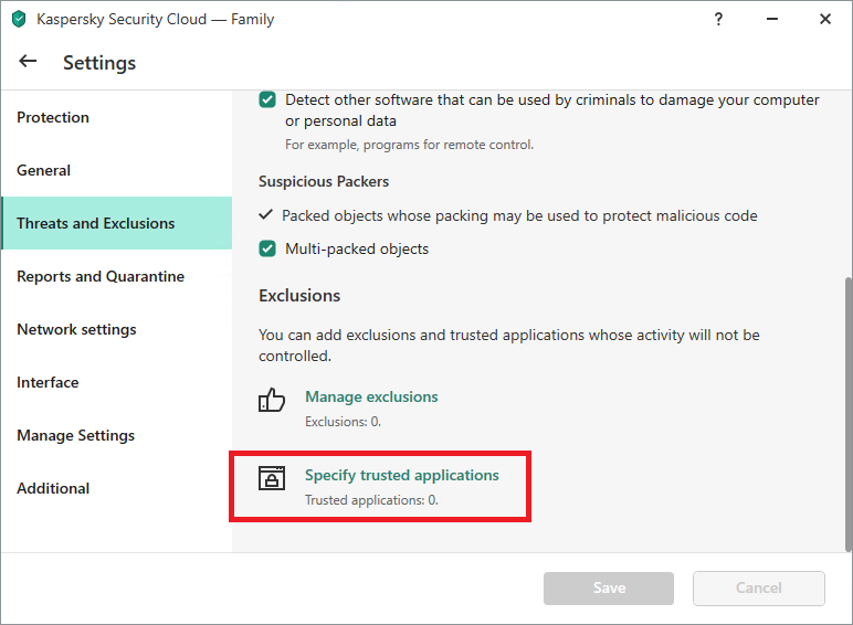The Trusted applications settings in Kaspersky Internet Security, Kaspersky Total Security, and Kaspersky Security Cloud