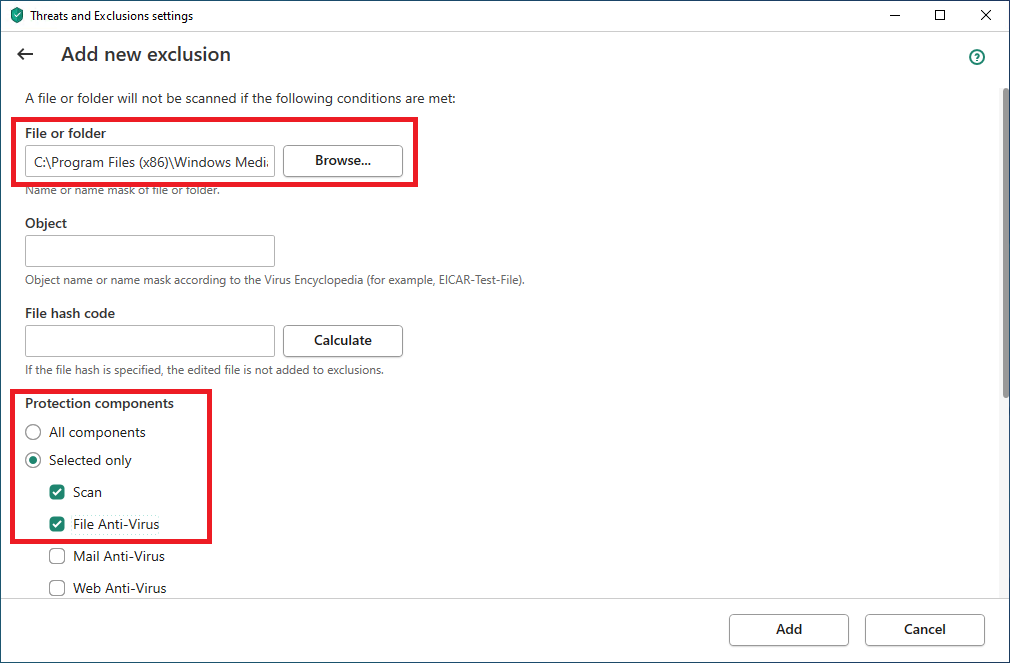 Choosing the path to the exclusion file and selecting components to ignore