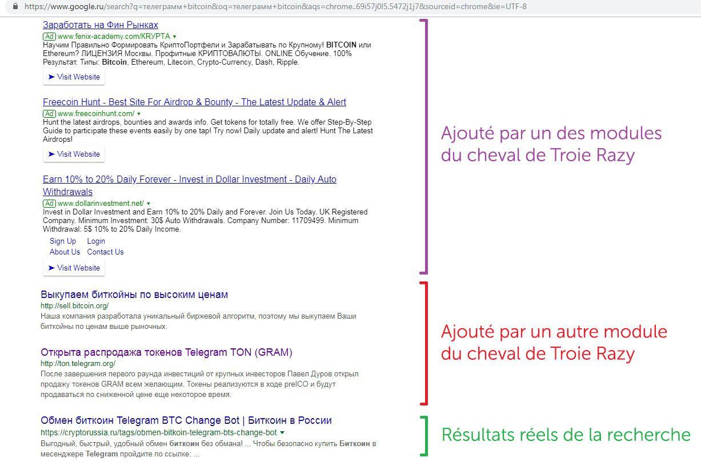 Le cheval de Troie Razy ajoute des liens dans les résultats d'une recherche – de nombreux lien d'hameçonnage