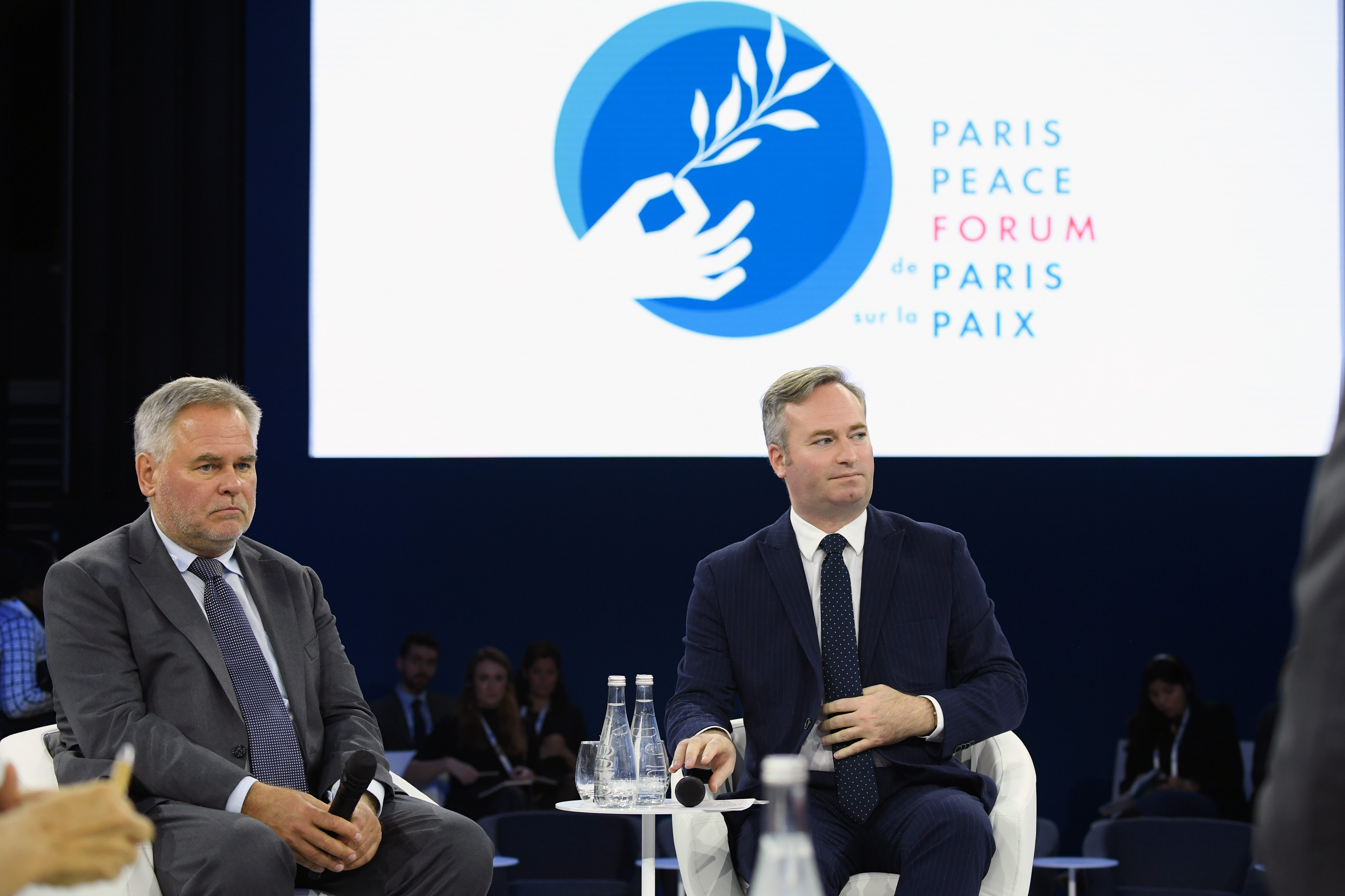 PARIS, FRANCE - NOVEMBER 12: Eugene Kaspersky and Jean-Baptiste Lemoyne attend a Cyber Security panel at the PPF. The Paris Peace Forum (PPF) is a global platform for governance projects. Kaspersky is one of the main partner of this high-level-conference at Grande Halle de La Villette on November 12, 2019 in Paris, France. (Photo by Pascal Le Segretain/Getty Images for Kaspersky )