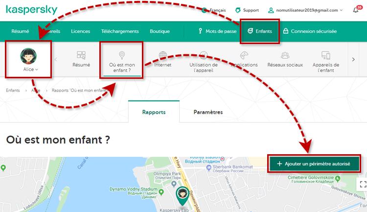 Configurer des périmètres autorisés grâce au contrôle de la localisation de Kaspersky Safe Kids