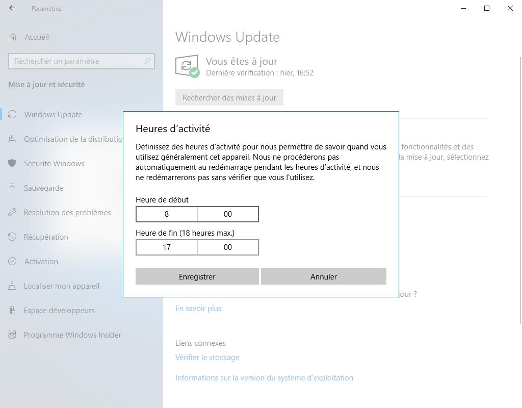 Indiquez quand Windows Update doit s'exécuter pour que vos performances de jeu ne soient pas affectées