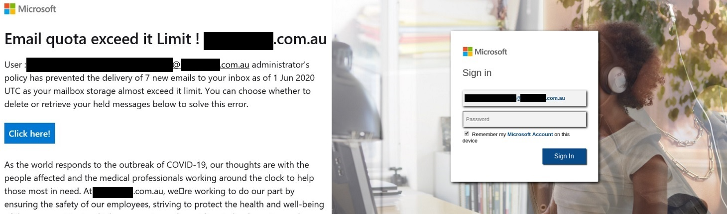 Fausse notification indiquant que la boîte de réception est pleine. E-mail et page de connexion.