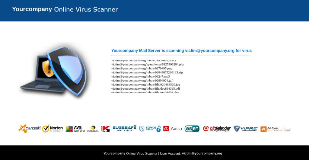 Faux site d'un scanner qui simule une analyse