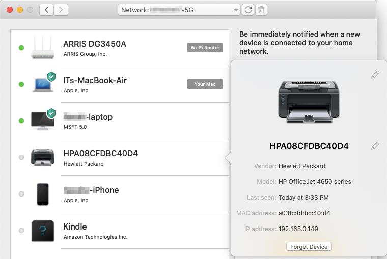 Les renseignements relatifs à un des dispositifs connectés à votre réseau incluentl'adresse MAC dont vous pouvez vous servir pour exclure définitivement le dispositif du réseau et le bloquer dans les paramètres de votre routeur