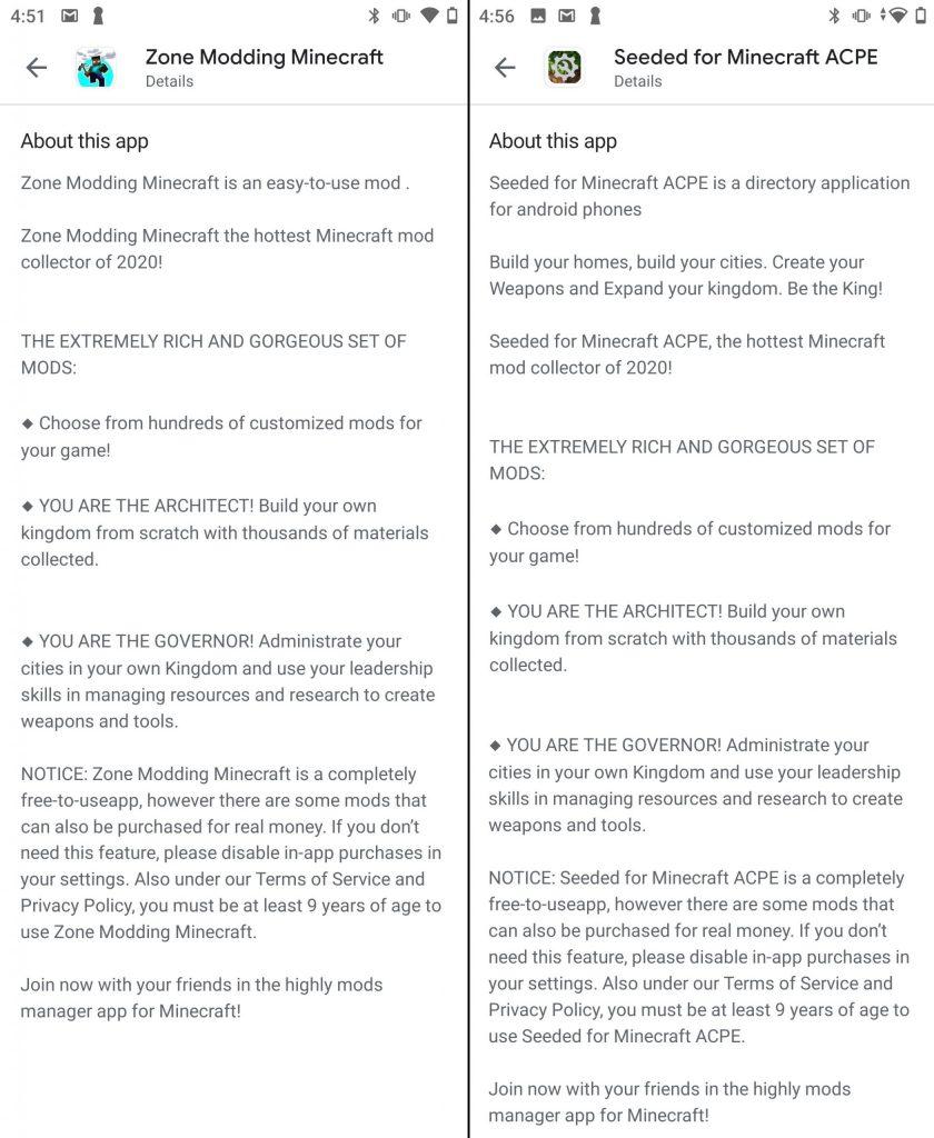 Applications d'éditeurs différents mais avec la même description