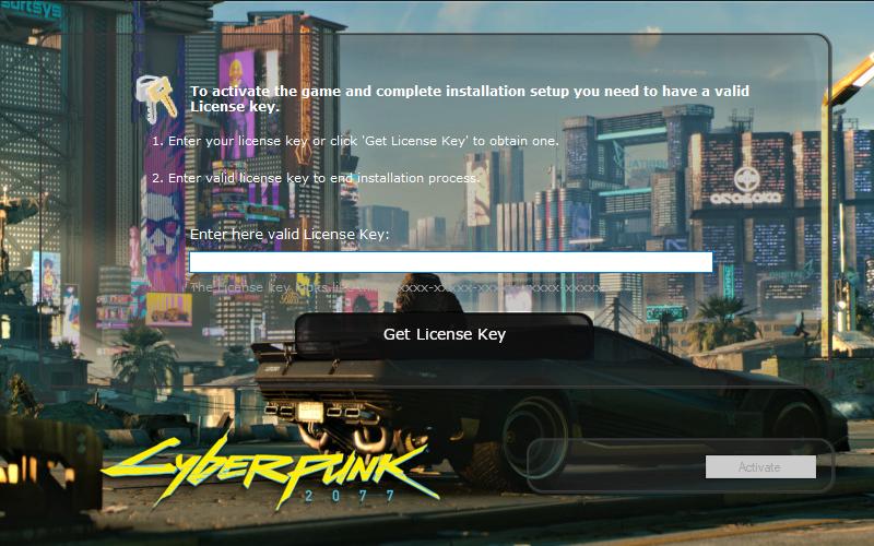 Le programme d'installation demande la clé de licence du jeu.
