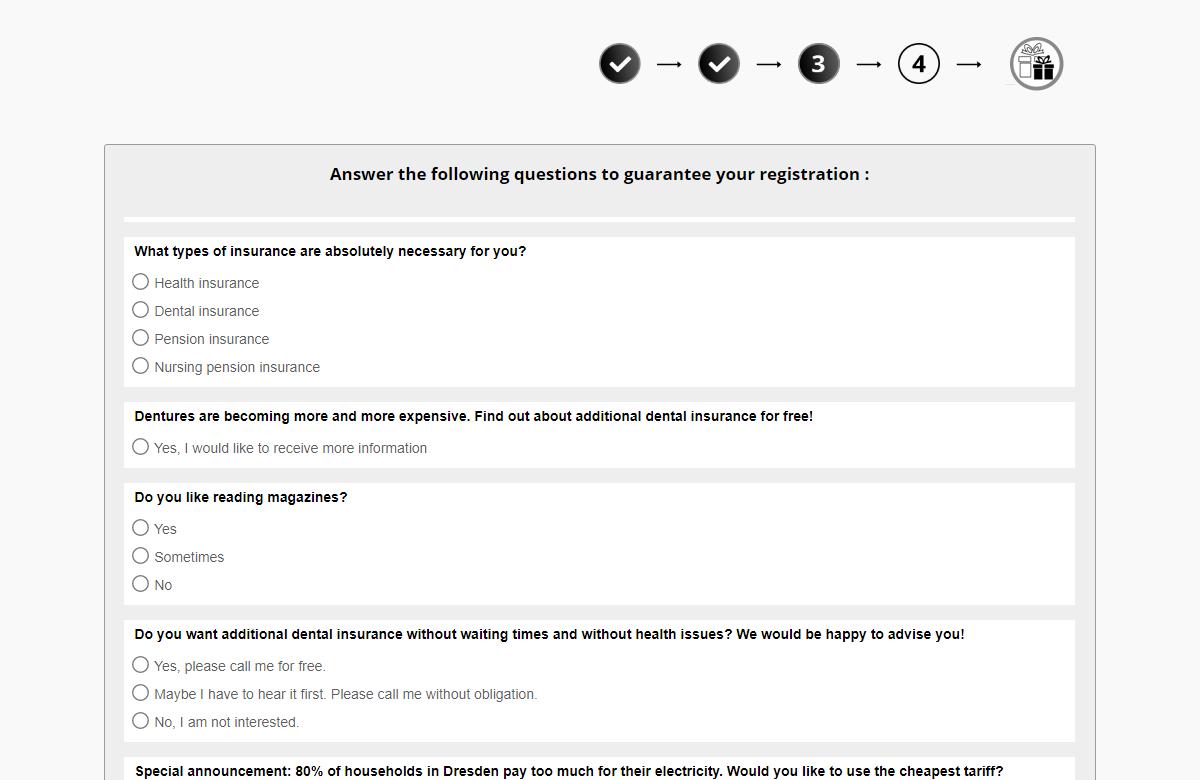 Questionnaire utilisé par les escrocs.
