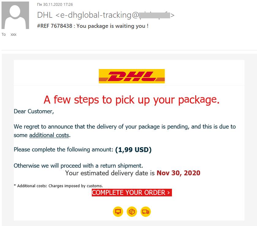 E-mail d'hameçonnage qui ressemble au message d'un service de livraison et qui demande au destinataire de payer un supplément pour recevoir le colis