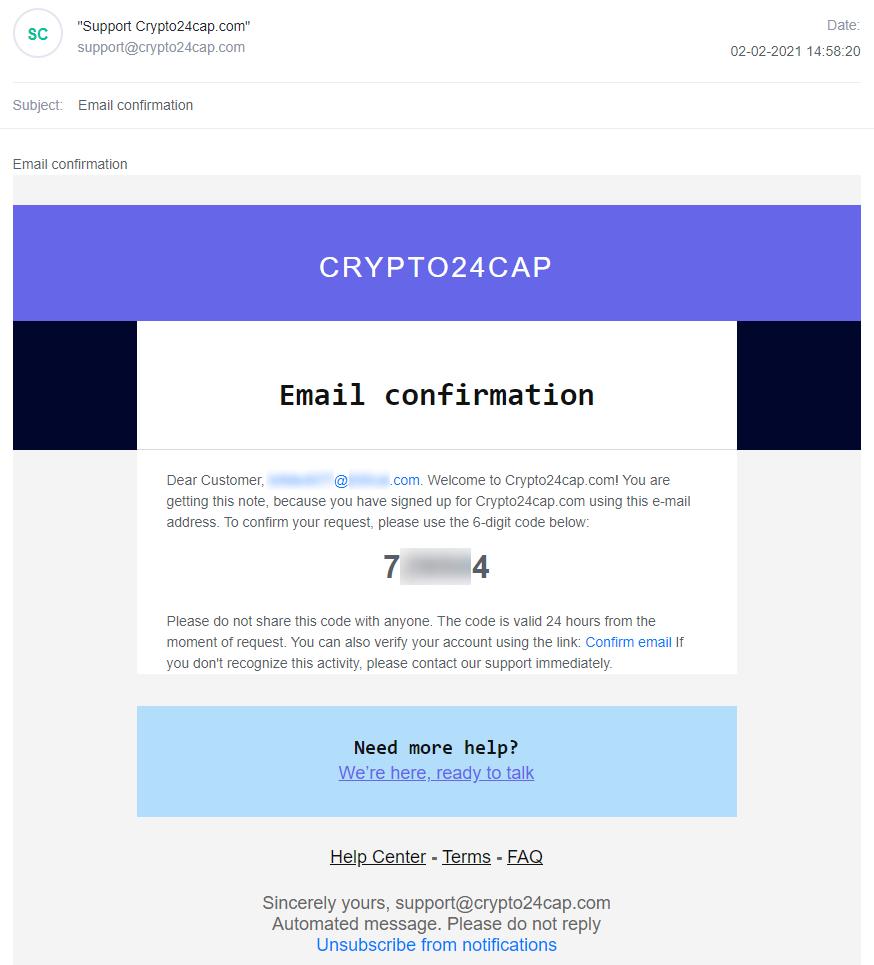E-mail avec un code de confirmation pour l'inscription