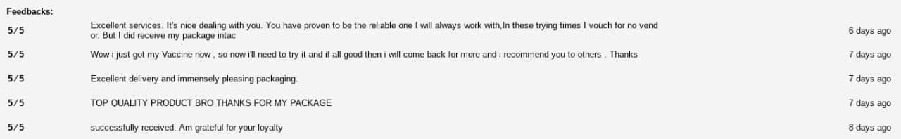 Voici les commentaires pour un vendeur de doses de vaccins. Aucun moyen de savoir s'ils ont été écrits par de vrais clients, bien entendu.
