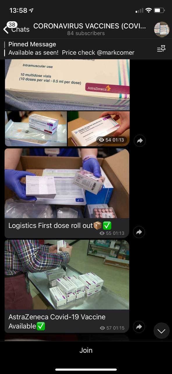 Photos d'un vendeur de vaccins sur une chaîne Telegram montrant la préparation pour la distribution du vaccin AstraZeneca