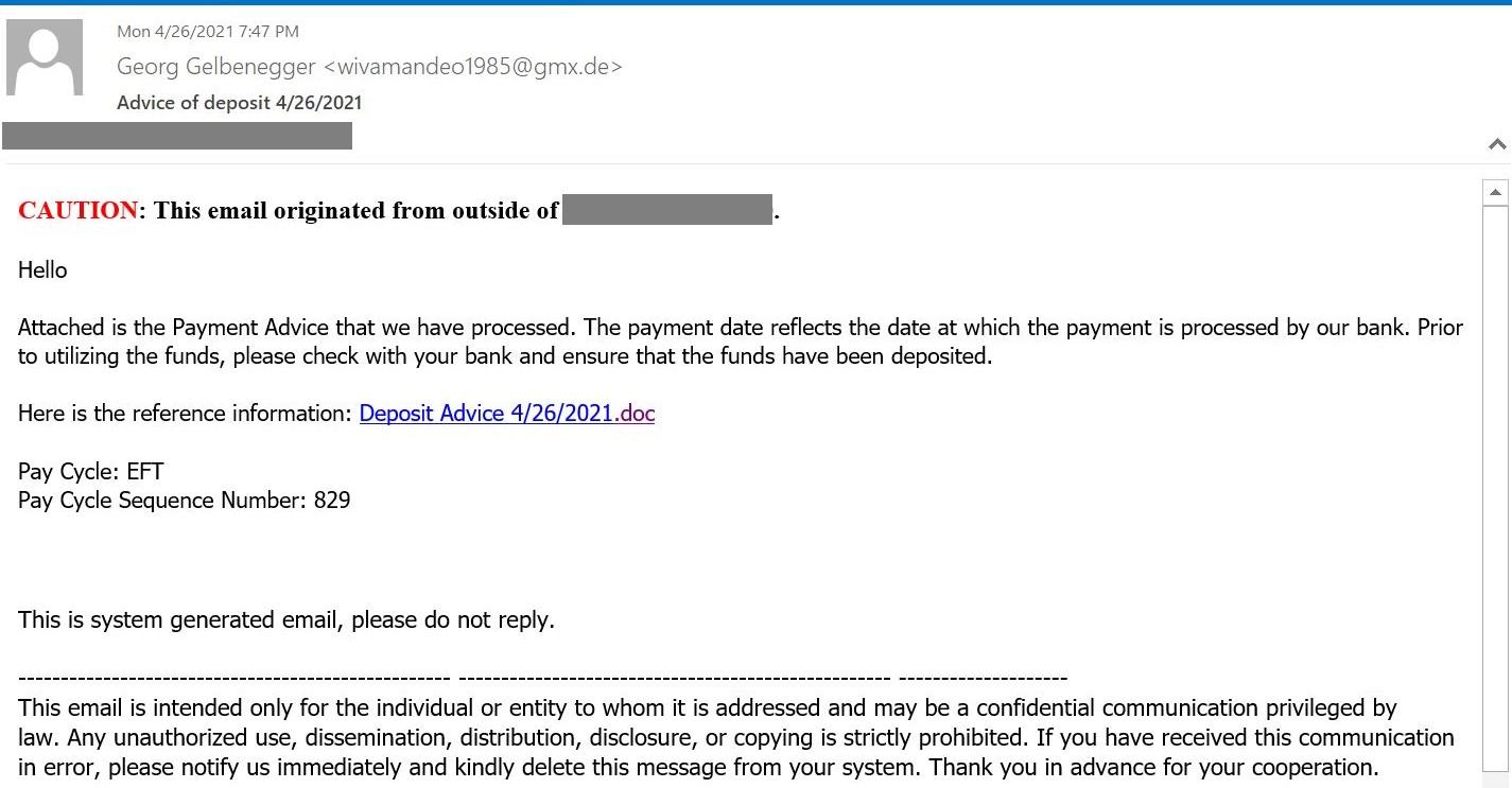 E-mail d'hameçonnage avec un lien redirigeant vers Google Docs