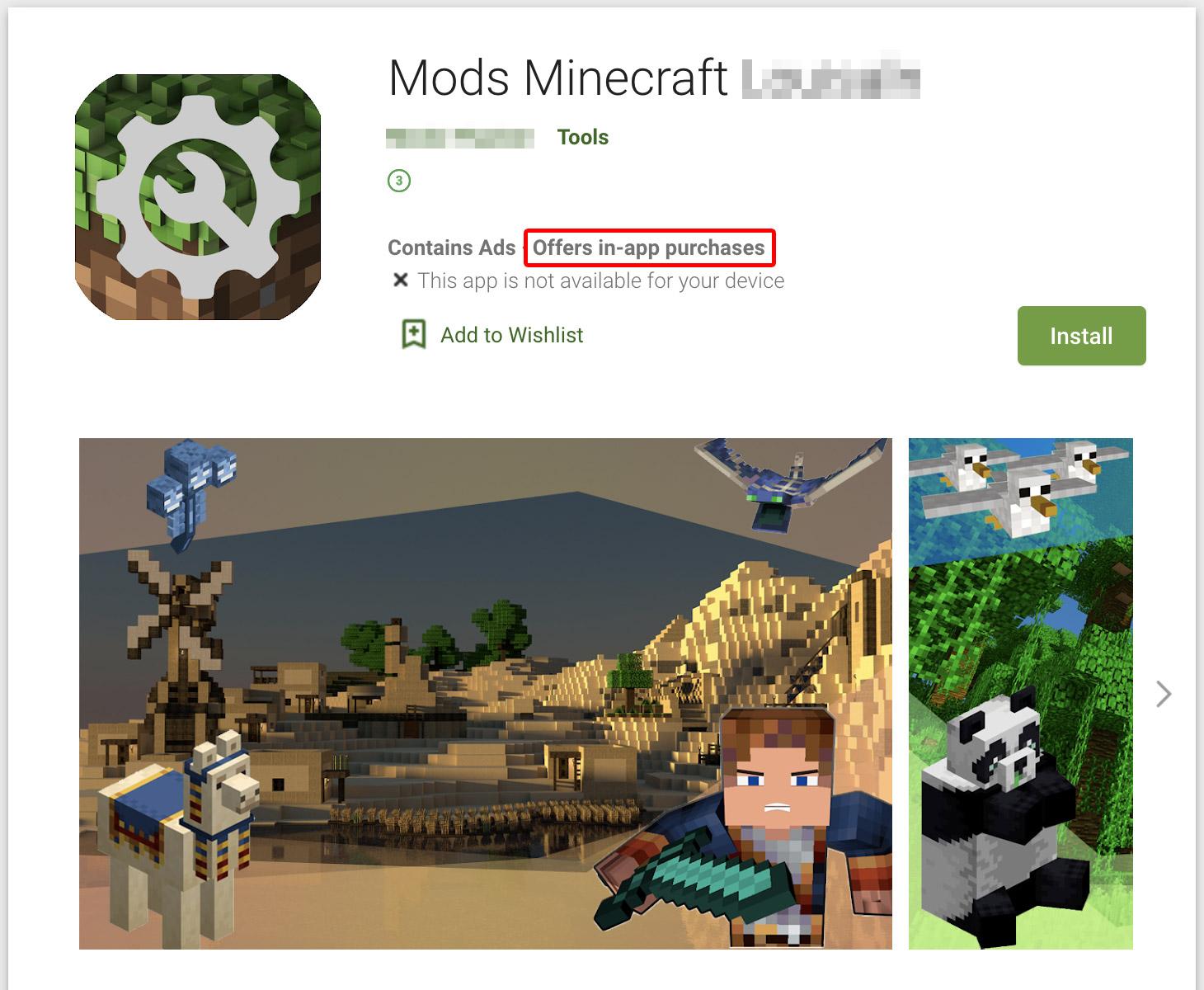 Voici l'un des packs de mods malveillants pour Minecraft dans Google Play