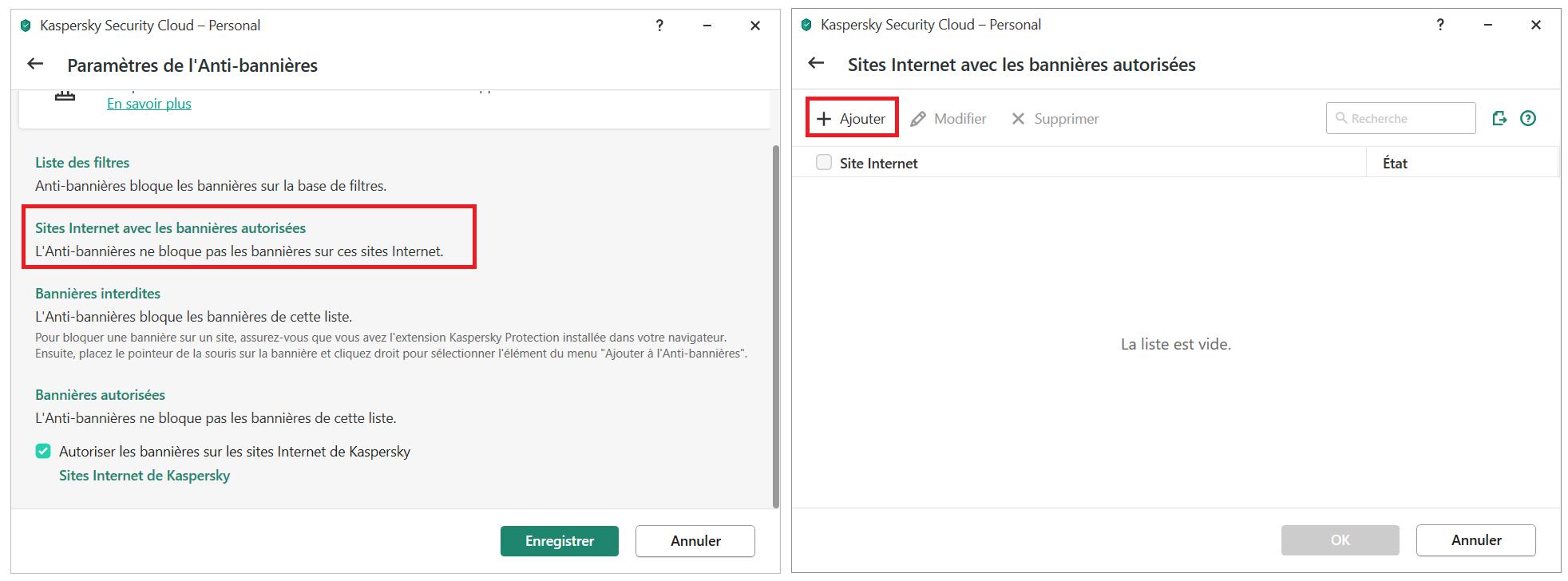 Comment ajouter une bannière à la liste des bannières autorisées dans Kaspersky Security Cloud