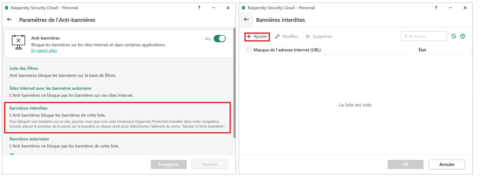 Comment ajouter une bannière à la liste des bannières interdites dans Kaspersky Security Cloud