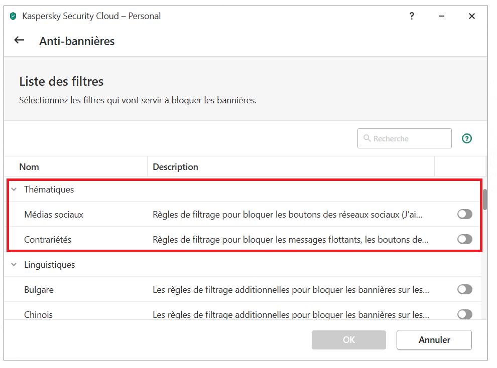Comment configurer l'Anti-bannières dans Kaspersky Security Cloud