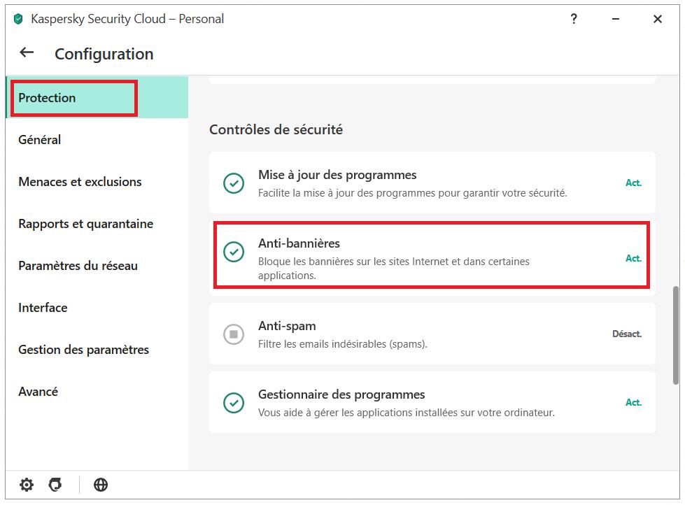 Comment activer l'Anti-bannières via le menu principal de Kaspersky Security Cloud