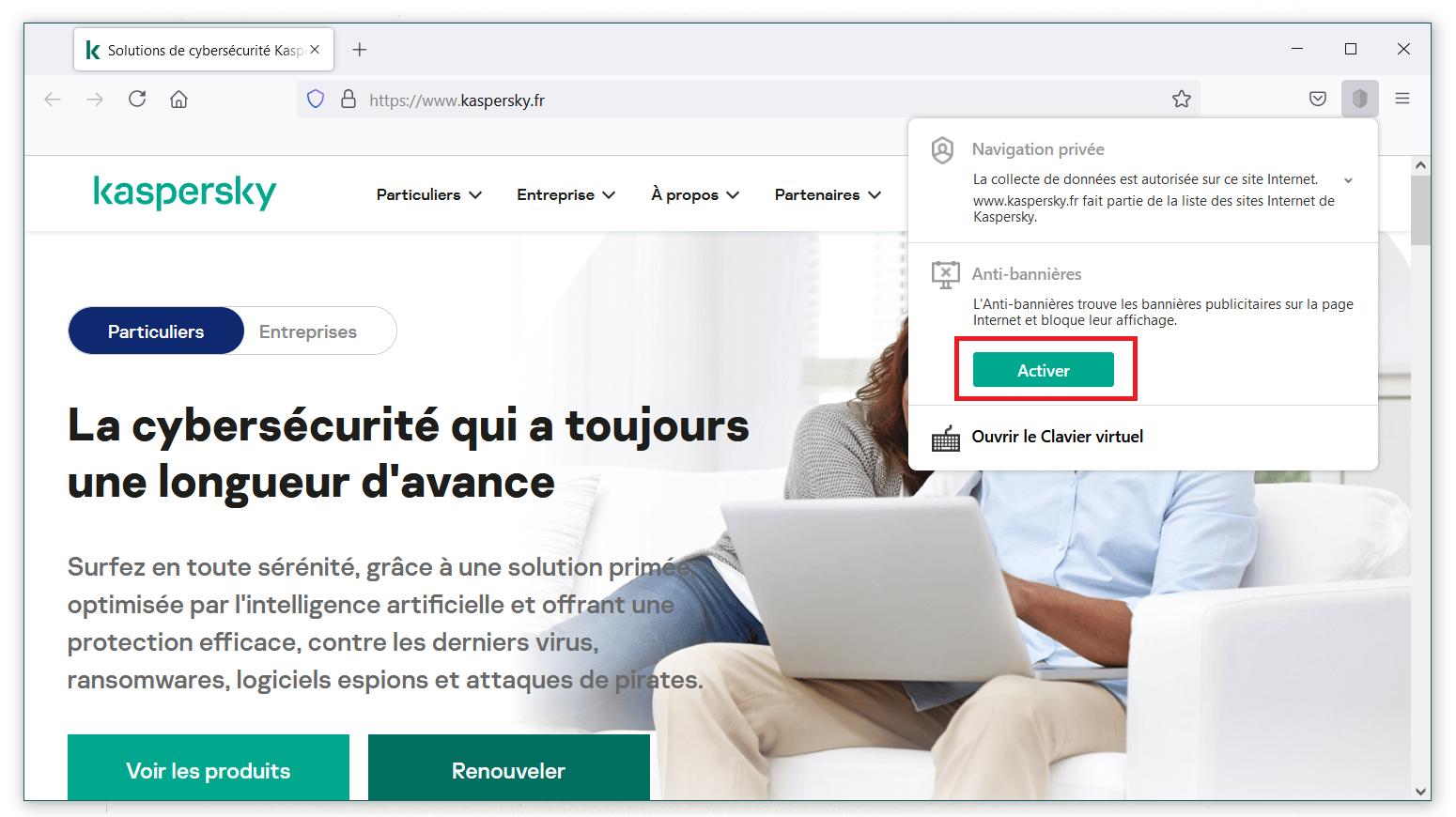 Comment activer l'Anti-bannières de Kaspersky Security Cloud via le menu de l'extension Kaspersky Protection