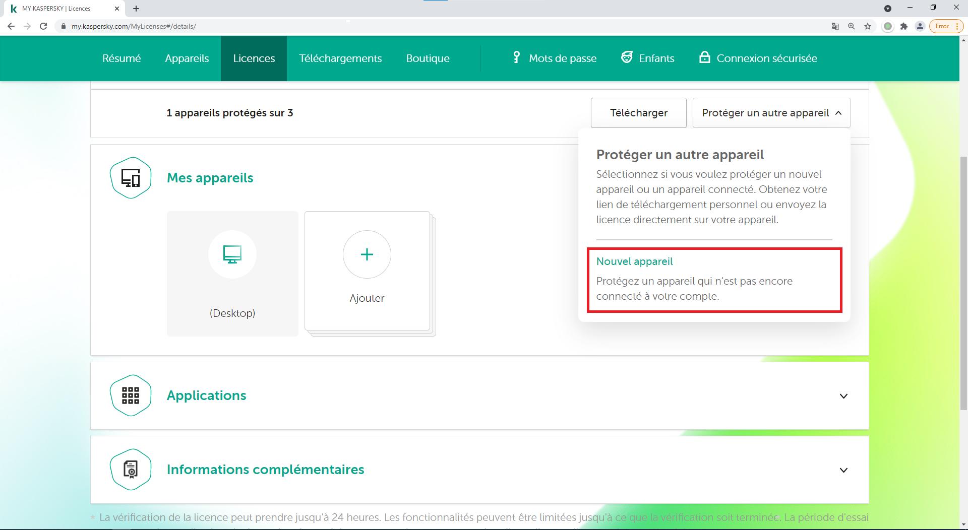 Comment utiliser My Kaspersky pour transférer une licence vers un nouvel appareil