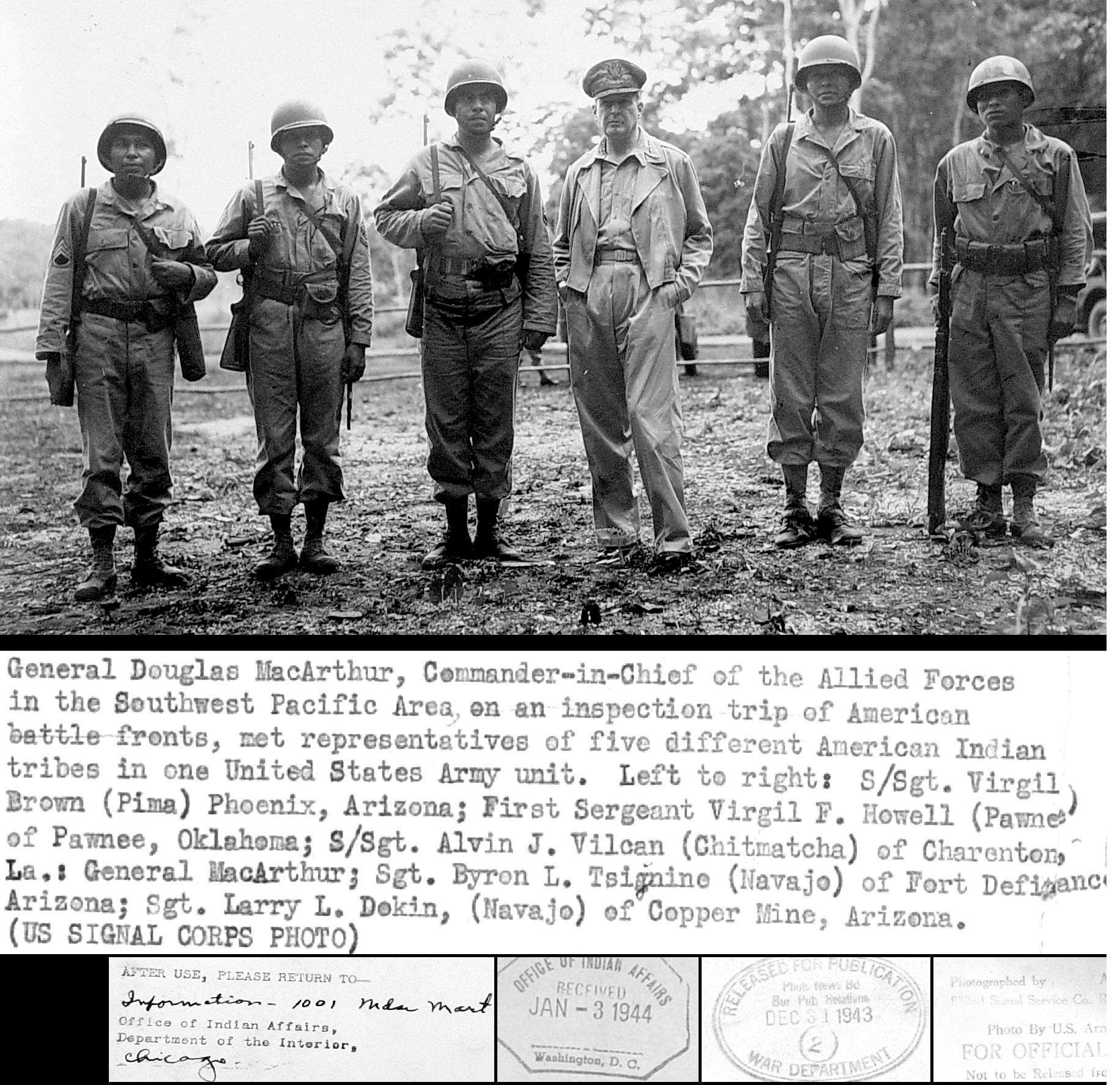 General_douglas_macarthur_meets_american_indian_troops_wwii_military_pacific_navajo_pima_island_hopping
