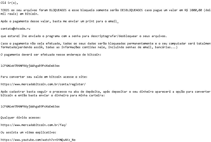 Texto com instruções de como efetuar o pagamento do resgate
