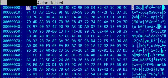 Arquivo com conteúdo criptografado