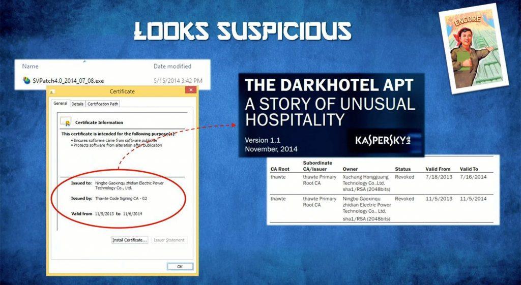 O arquivo recebido pelo jornalista da Bloomberg também continha malware conectado ao DarkHotel APT