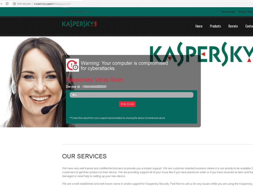 Verificação de vírus falsa em um site de suporte técnico falso da Kaspersky Lab