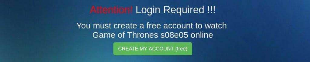 Falsas páginas de streaming de Game of Thrones pedem que os usuários criem uma conta