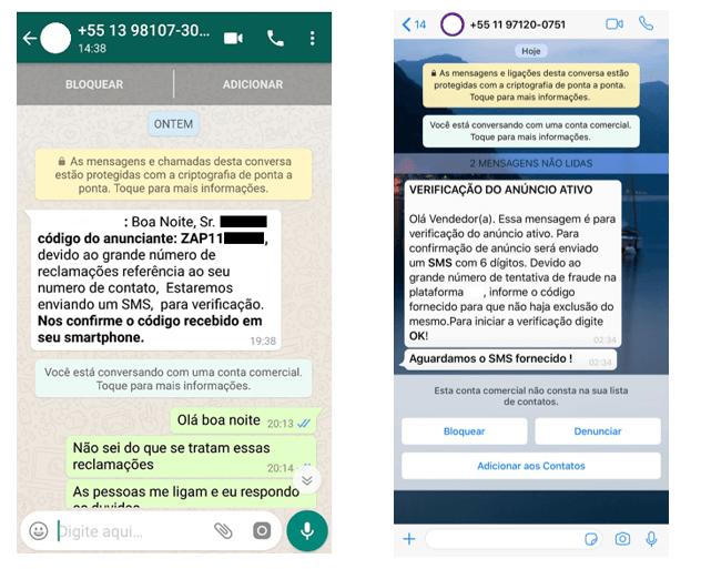 Exemplo de mensagens recebidas pelas vítimas