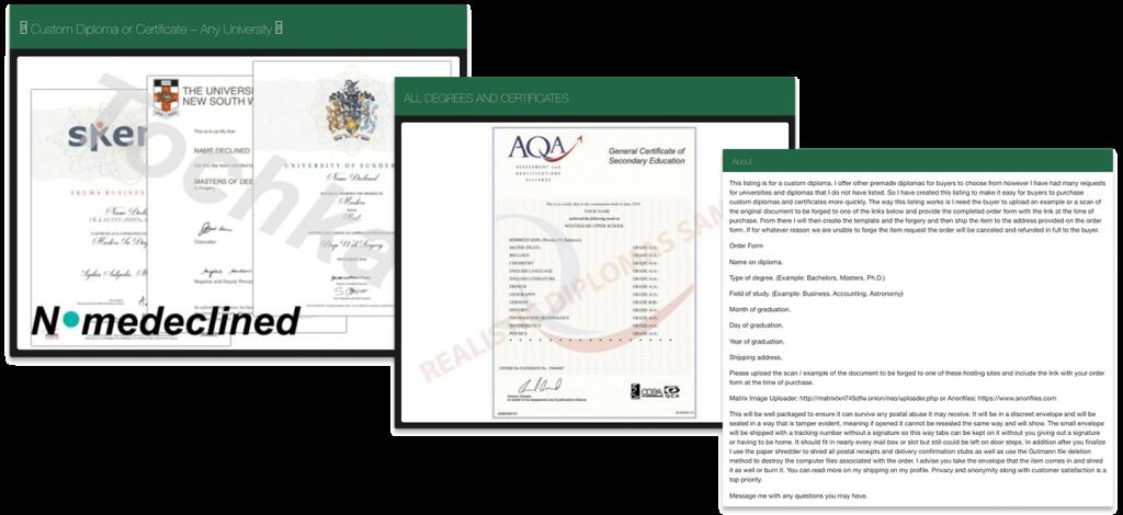 Mercado clandestino que vende online certificados e diplomas de diferentes instituições