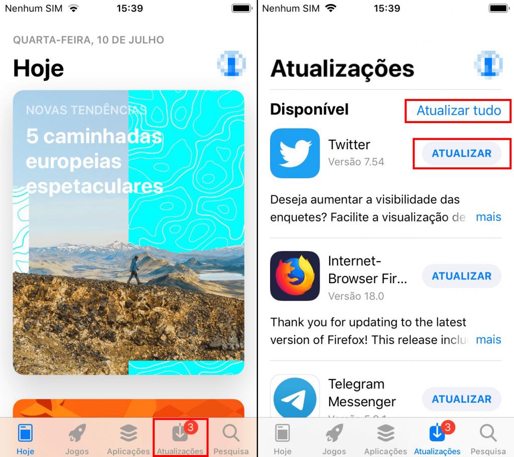 como atualizar manualmente os aplicativos no iOS