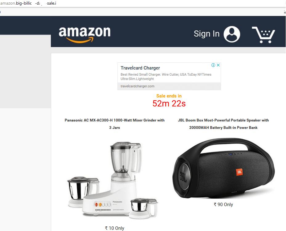 Site fraudulento que supostamente oferece liquidações da Amazon