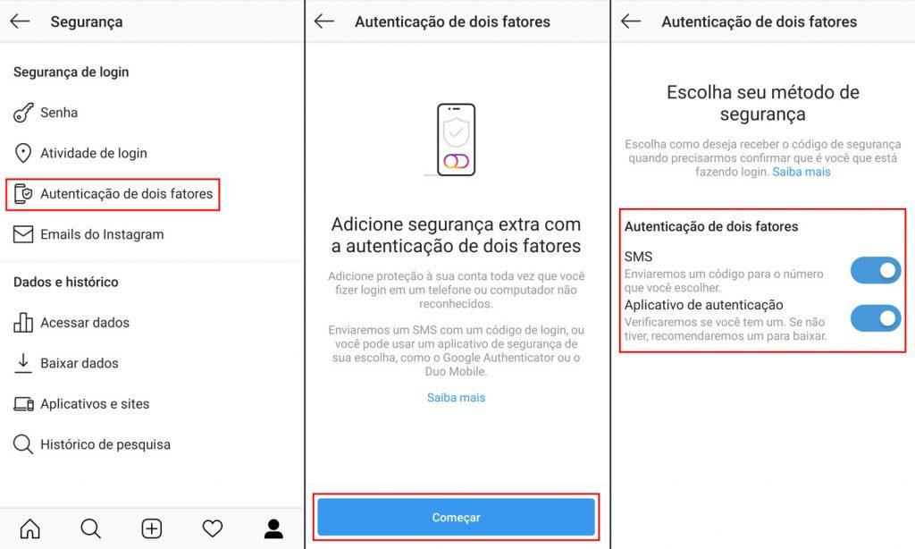 Como configurar a autenticação de dois fatores no Instagram