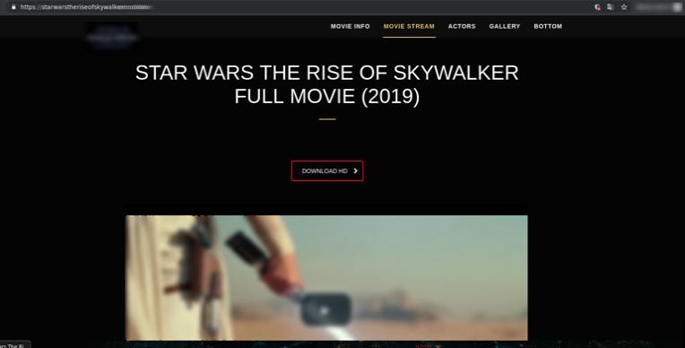 Captura de tela de um site de phishing configurado para parecer um site oficial do filme