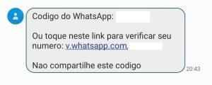 Exemplo de mensagem enviada para ativar o WhatsApp em um celular diferente