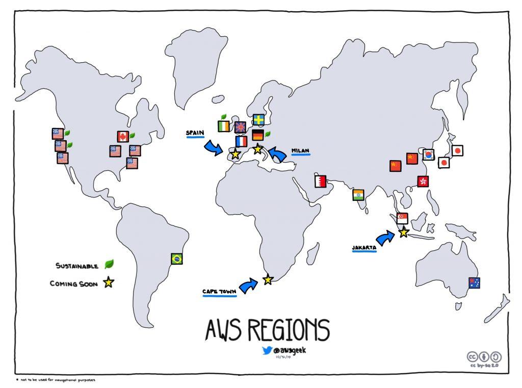 Áreas de AWS. A folha verde indica energia sustentável