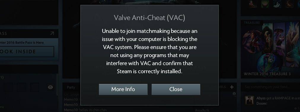 O VAC monitora o software em execução e, se detectar Powershell, Sandboxie, Cheat Engine ou outros utilitários na lista de proibições, impede o jogador de participar de uma partida online